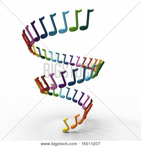 Many-coloured musical notes whirpool. Isolated on white in 3d.