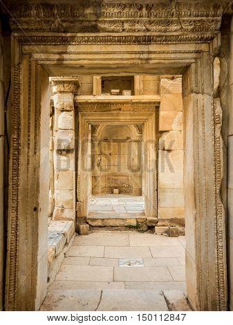 SELCUK IZMIR TURKEY- SEPTEMBER 13 2016: Ephesus was an ancient Greek city on the coast of Ionia. UNESCO World Heritage Site.