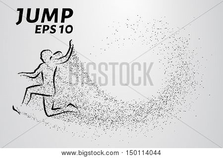 Jumper particles. Silhouette of a jumper of the small circles.