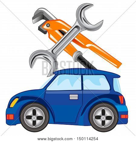 Car and keys for servicing on white background is insulated