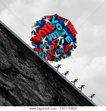 Vote stress and voting pressure concept as a hotly contested election campaign symbol with a group of 3D illustration text and stars shaped as a huge ball rolling down with voters in distress.