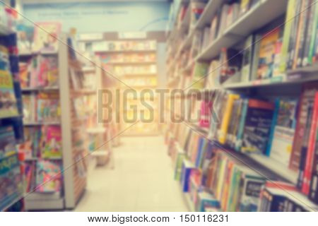 abstract blurred bookstore in Thailand vintage style background.