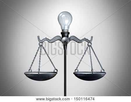 Legal idea and smart intelligent law strategy concept as an illuminated lightbulb balancing a justice scale as a bright lawyer or attorney icon for legislation or verdict success as a 3D illustration.