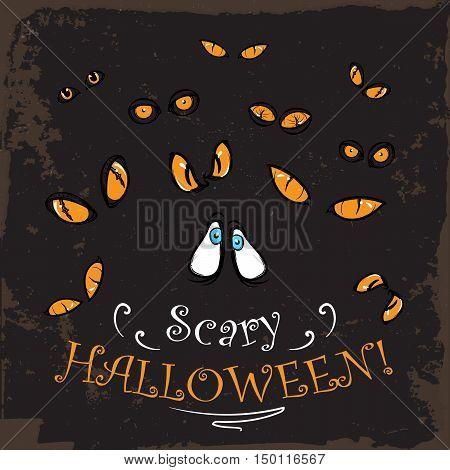 Scary yellow eyes watching from the dark. Spooky Halloween greeting card, print or party invitation design. Vintage look. EPS10 vector illustraton.