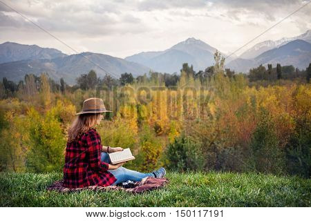 Woman At Autumn Picnic