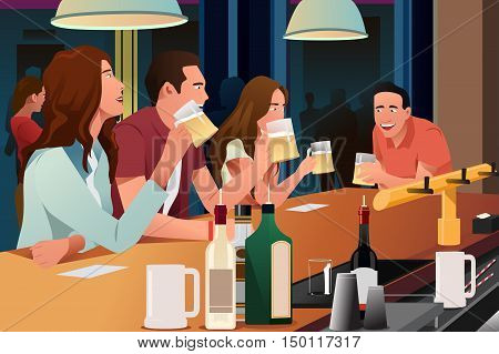 A vector illustration of young people having fun in a bar