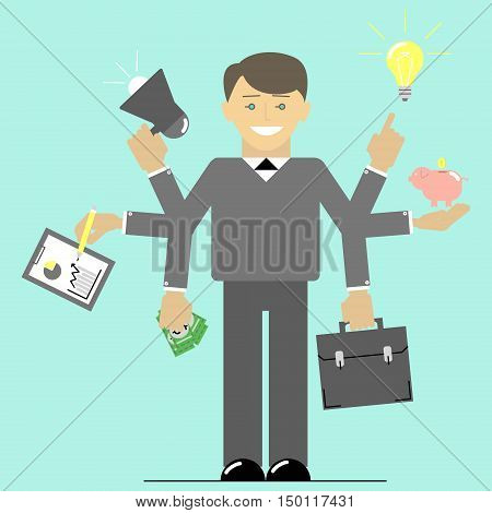 Multitasking. Businessman time to do many things at once. Flat vector illustration