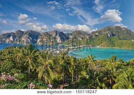 Tropical Island With Resorts - Phi-phi Island, Krabi Province, Thailand.