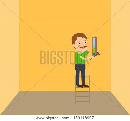 Man making repairs in room vector illustration