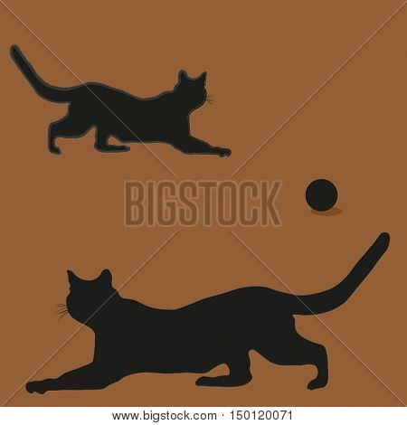 The composition of the two cat on the hunt Abstract the silhouette style, black a predator game with the ball sketch drawing background shadow vector illustration eps10 stock