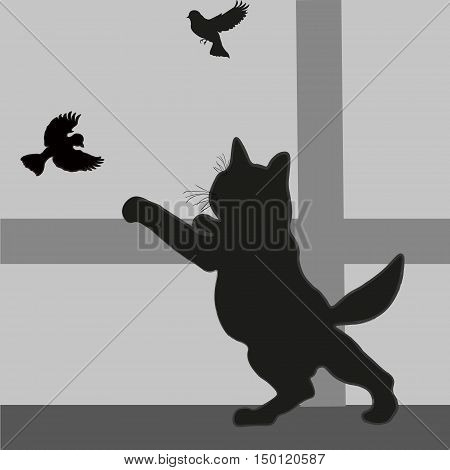 Kitten looking out of the window on the sparrow Abstract design drawing silhouette style mammal a predator hunting for birds sill beam tail ear paw mustache black gray eps10 vector illustration Stock