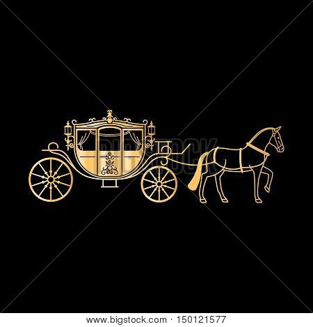 Carriage golden silhouette with horse. Vector horse carriage gold silhouette on black background