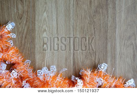 Halloween Themed Wood Background Decorated With Spooky And Cute Decors