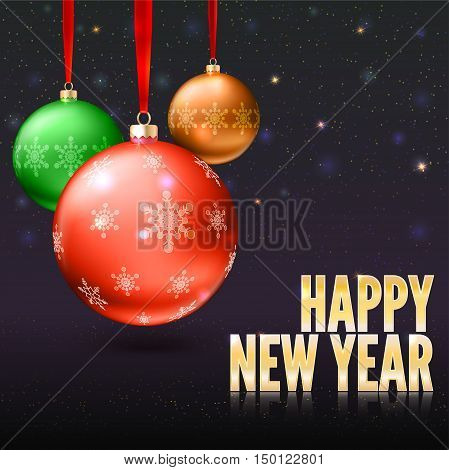 Christmas balls on the background with flash and Christmas lights. Realistic vector bright balls with snowflakes. Greeting card with golden text, editable eps 10