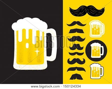 Beer glass and mustaches