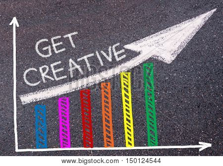 Get Creative Written Over Colorful Graph And Rising Arrow