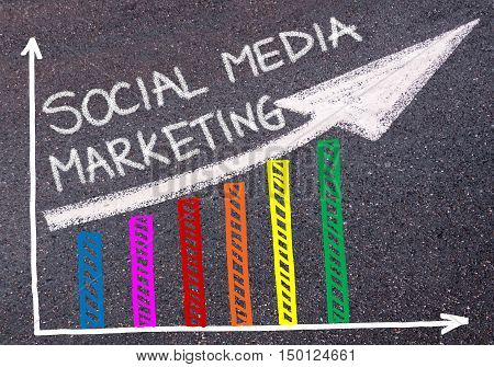 Social Media Marketing Written Over Colorful Graph And Rising Arrow