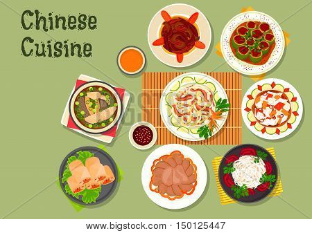 Chinese cuisine icon with rice noodle salad with beef and radish, shrimp spring rolls, beef tongue, daikon salad, spicy chinese cabbage, fish soup, stuffed cucumber with pork, eggplant stew