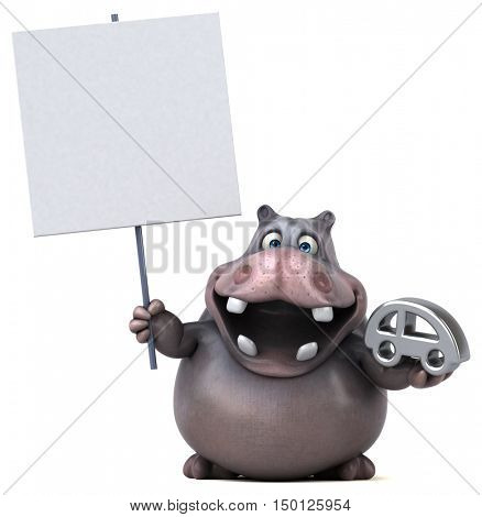 Hippo - 3D Illustration