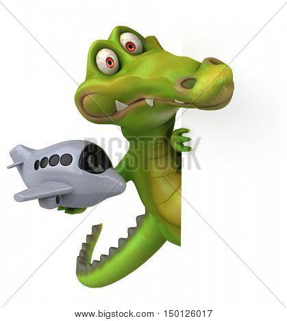 Fun crocodile - 3D Illustration