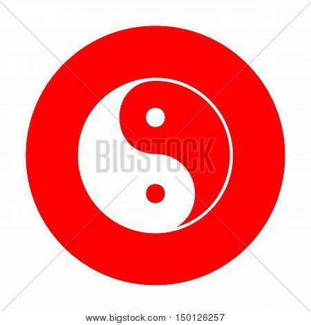 Ying Yang Symbol Of Harmony And Balance. White Icon On Red Circle.
