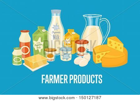 Farmer products banner with dairy composition isolated vector illustration. Healthy nutritious concept with butter, eggs, milk, cream, yoghurt, cheese. Organic farmers food. Organic food and dairy product concept. Milk product icon. Cartoon dairy product.