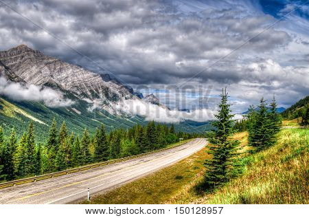Mountain views Kananaskis Country Alberta Canada in the rain.