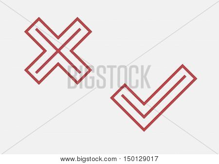 Red Check And Cross Symbol