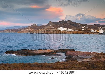 View of the Grotta in Naxos town over the sea.