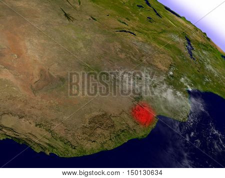 Swaziland From Space Highlighted In Red