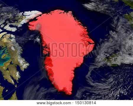 Greenland From Space Highlighted In Red