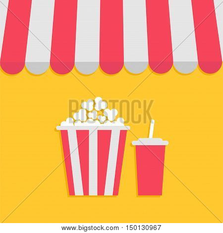 Striped store awning for shop marketplace cafe restaurant. Red white canopy roof. Popcorn and soda with straw. Cinema icon. Flat design. Yellow background. Isolated. Vector illustration