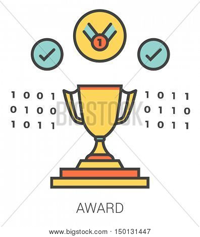 Award infographic metaphor with line icons. Project award concept for website and infographics. Vector line art icon isolated on white background.