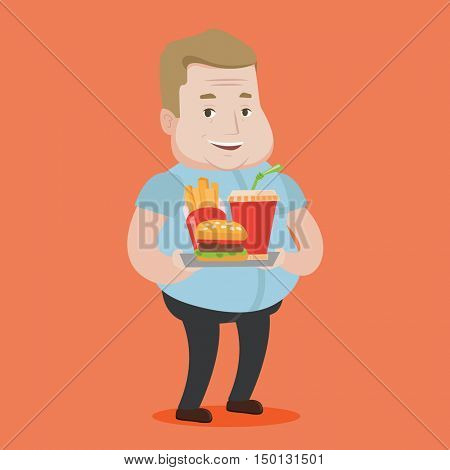 A fat man holding tray with soda, french fries and hamburger. Plump smiling man having a lunch in a fast food restaurant. Happy man with fast food. Vector flat design illustration. Square layout.