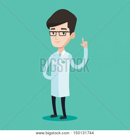 Doctor in medical gown showing finger up. Young caucasian doctor with finger up. Man in doctor uniform pointing finger up. Vector flat design illustration isolated on blue background. Square layout.