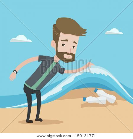 A hipster caucasian young man with the beard showing plastic bottles under sea wave. Concept of water pollution and plastic pollution. Vector flat design illustration. Square layout.