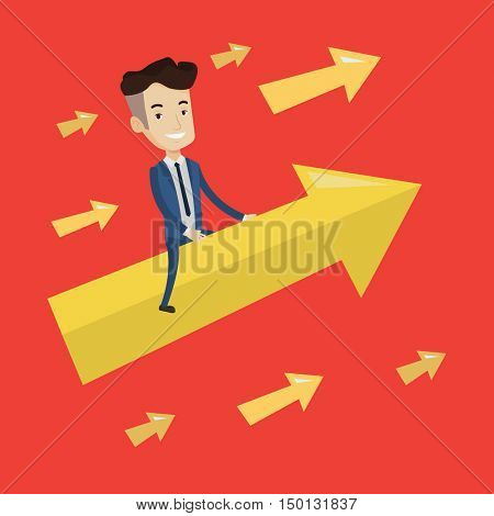 Happy cheerful businessman sitting on the arrow going up. Successful businessman flying up on arrow. Concept of moving forward for business success. Vector flat design illustration. Square layout.