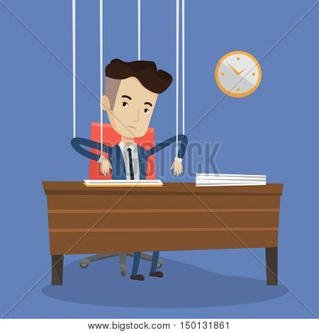 Caucasian businessman hanging on strings like a puppet. Young businessman marionette on ropes sitting at the table in office. Emotionless man working. Vector flat design illustration. Square layout.