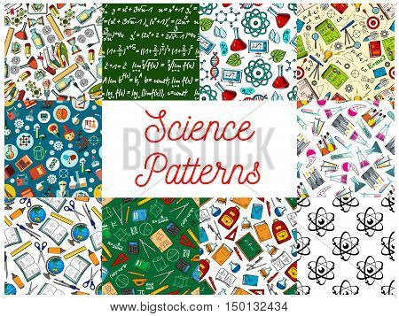 Science and education seamless patterns with set of sketched backgrounds with microscope, laboratory test tube, atom, book, chalk formula on blackboard, school supplies, computer and stationery