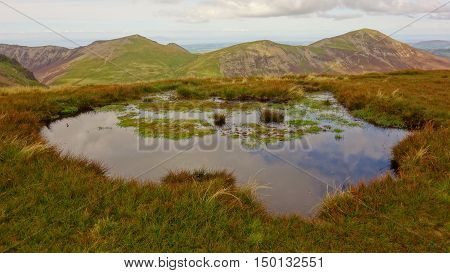 Hopegill Head and Grisedale Pike with tarn on Sail in foreground, Lake District, Cumbria, England