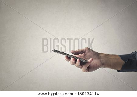 Holding a smartphone