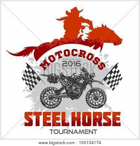 Motocross Tournament emblem moto and horse for t-shirts on white background