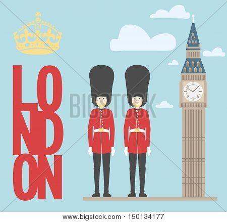 illustration of Big Ben Tower on plain background