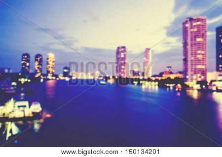 blurred cityscape with business buliding and liveing zone