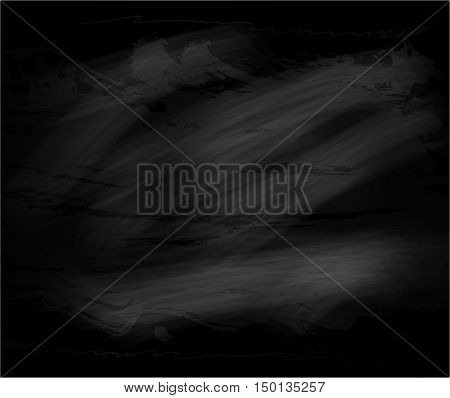 Black chalkboard abstract texture background with stains. Blackboard for chalk drawing