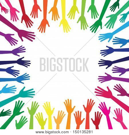 Diversity multicolored hands reach to the empty center frame. Yellow, orange, red, green, blue, purple, violet colors. Vector human arms on white background for text, copy space. Rainbow.