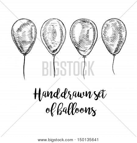 Hand drawn set of balloons. Vector sketch for holidays. Design for cards isolated. Black white balloons. Doodle design. Retro vintage style. Vector illustration.