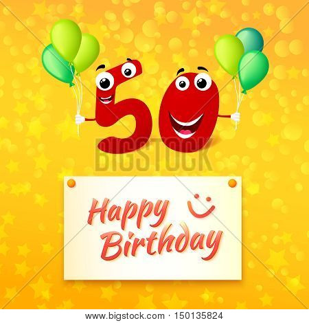 Fifty Birthday festive greeting card with typography. Cartoon illustration for 50 years anniversary with number characters and text Happy Birthday. Vector illustration