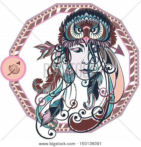 Zodiac signs Sagittarius. Vector illustration of the girl