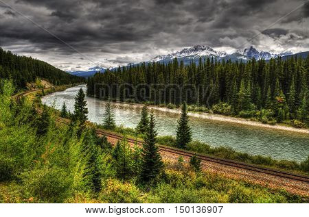Scenic Morant's Curve Railway track in Banff National Park